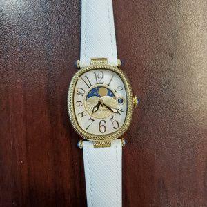 Judith Ripka Oval Gold-White Band Womens Watch